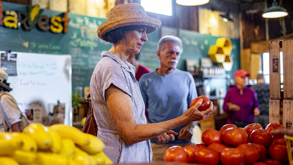 Patron shops for tomatoes at Dirty Dog Organics.