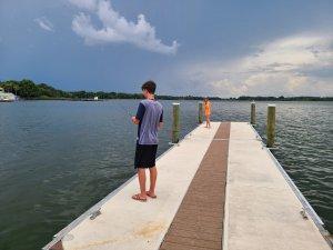 The blogger's children enjoy fishing from the pier.