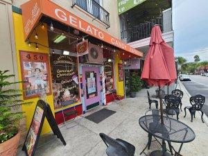Exterior photo of gelato shop.