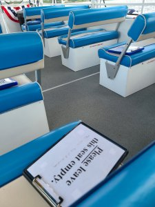 Close-up photo of seats on a boat tour.