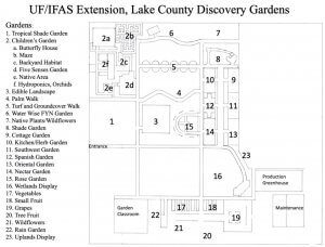 Map diagram of Discovery Gardens.
