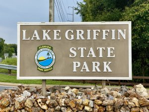 Lake Griffin State Park entrance sign.
