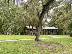 Picnic pavilion at Lake Griffin State Park.