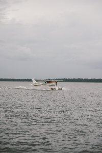 A seaplane takes off on Lake Dora in Tavares, Florida.
