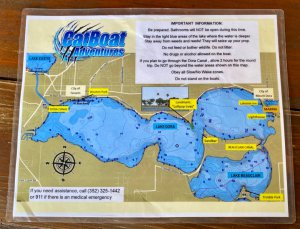 CatBoat Adventures map of Lake Dora and surrounding bodies of water.