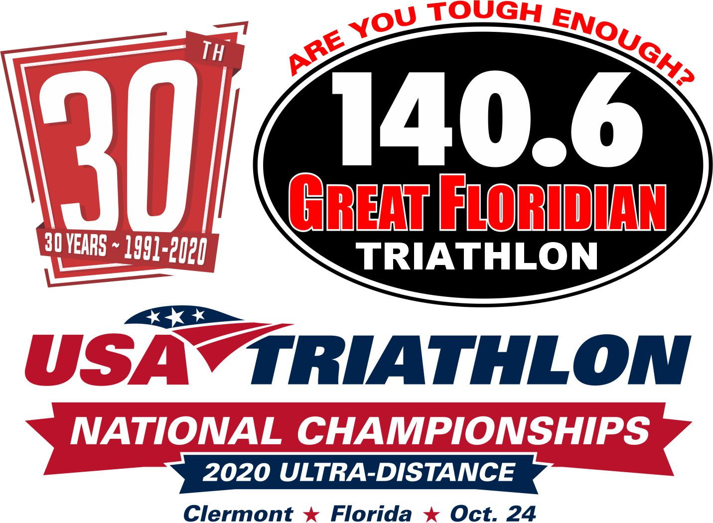 Event logo for Great Floridian Triathlon and USA Triathlon Ultra Distance National Championship