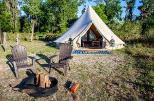 Photo of a glamping site at Lake Louisa State Park in Florida.