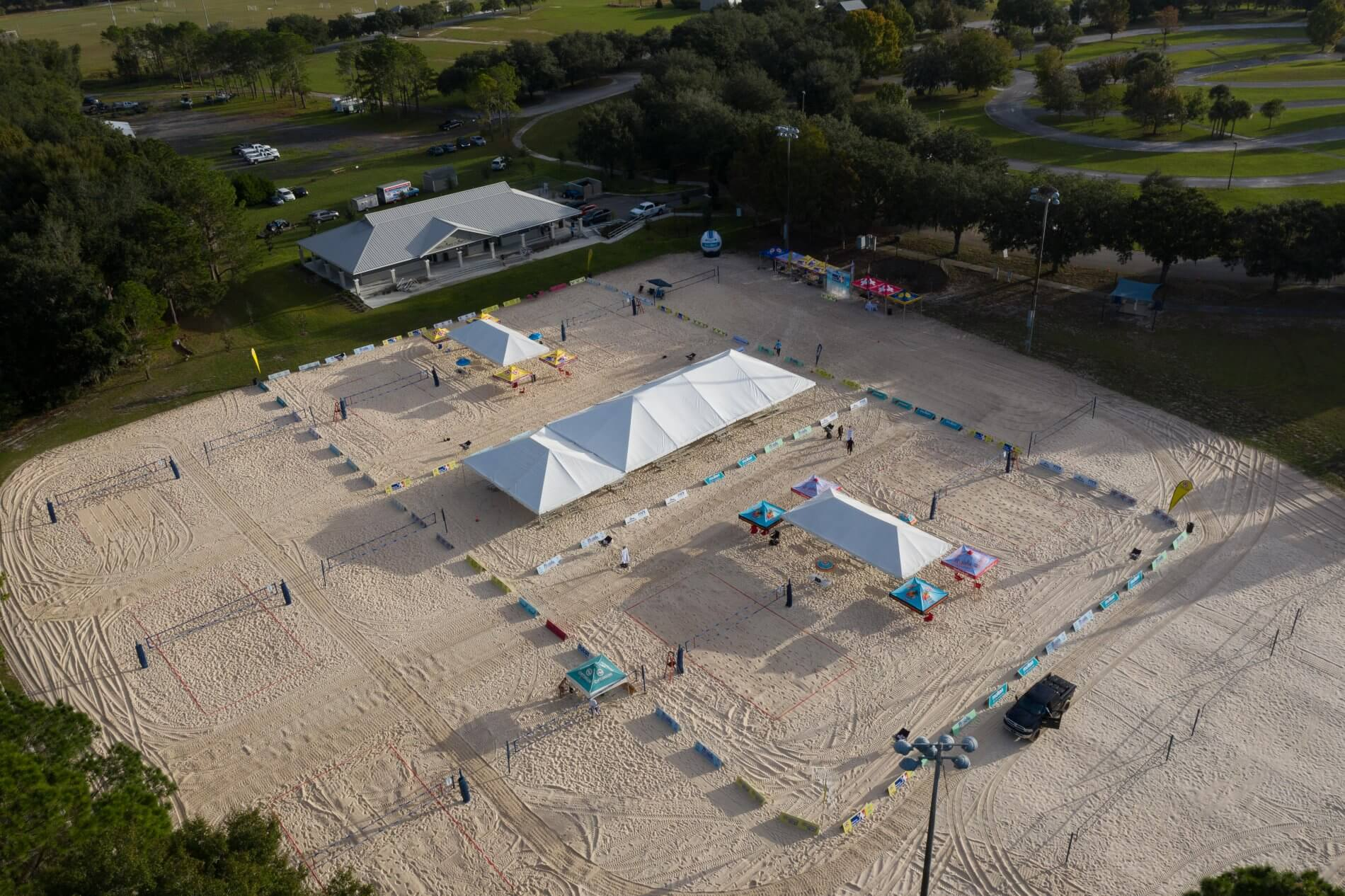 Arial view of Hickory Point Beach sand volleyball complex in Tavares, FL