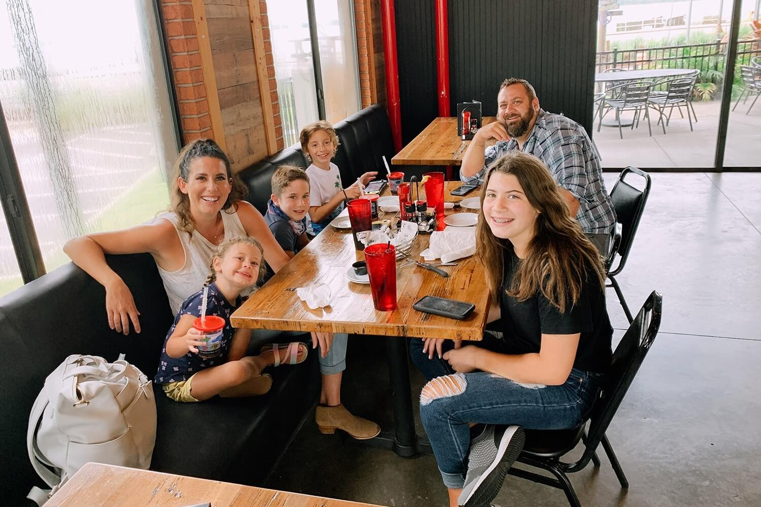 A family eats together at a restaurant in Lake County.