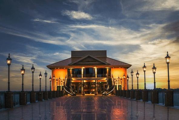Tavares Pavilion on the Lake at dusk.