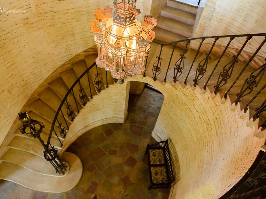 A winding staircase at the Howey Mansion.