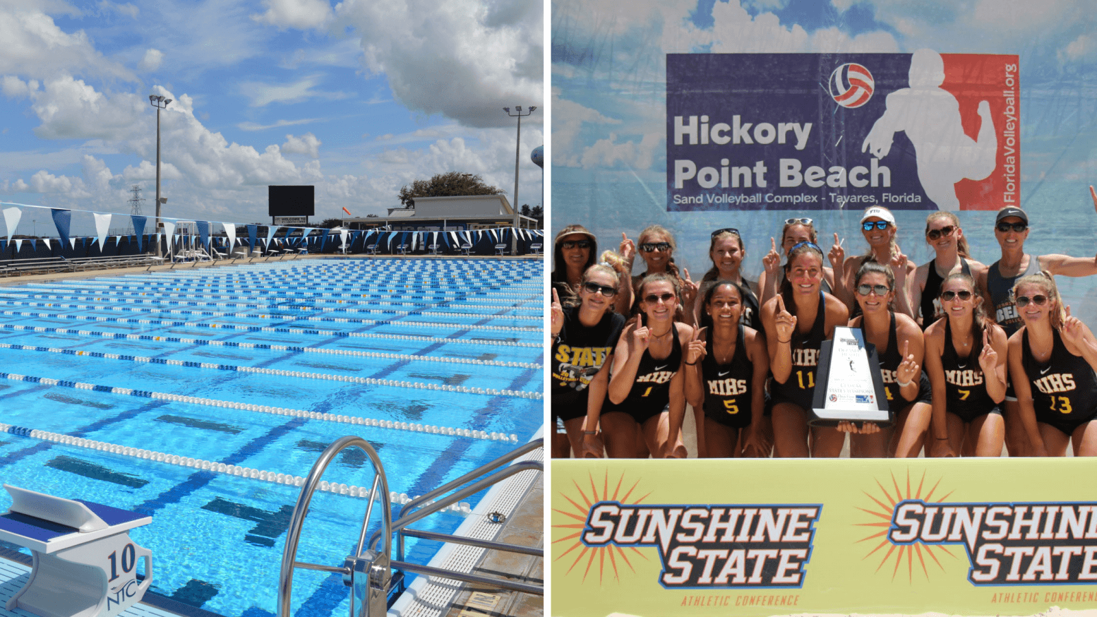 Collage of 2 pictures. Picture on left is of an empty competition swimming pool. Picture on the right is of a high school girls beach volleyball team holding a championship trophy.