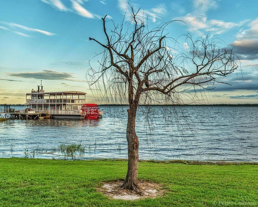 The Dora Queen paddlewheel boat sits on Lake Dora in Tavares.